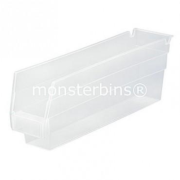 Clear Plastic Shelf Bin 12x3x4