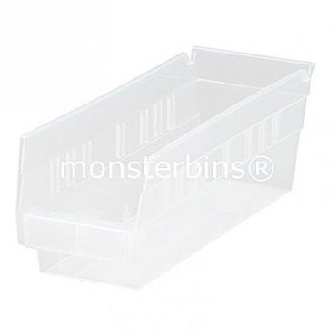 Clear Plastic Shelf Bin 12x4x4