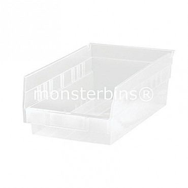 Clear Plastic Shelf Bin 12x6x4