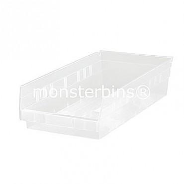 Clear Plastic Shelf Bin 18x6x4