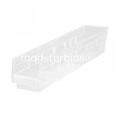 Clear Plastic Shelf Bin 24x4x4