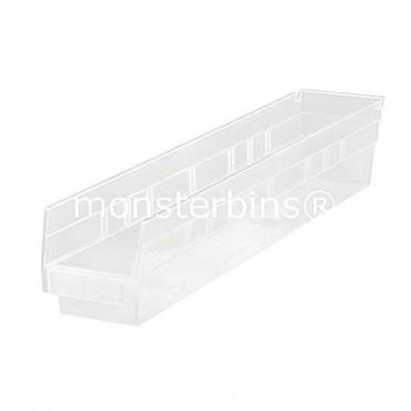 Clear Plastic Shelf Bin 24x4x4