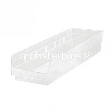 Clear Plastic Shelf Bin 24x6x4