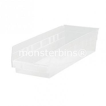 Clear Plastic Shelf Bin 18x8x4