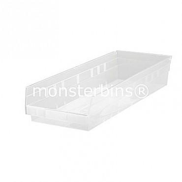 Clear Plastic Shelf Bin 24x8x4