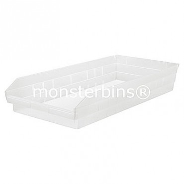 Clear Plastic Shelf Bin 24x11x4
