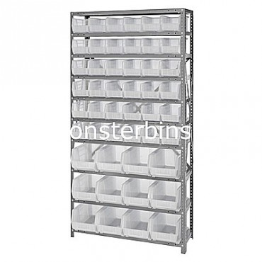 Steel Shelving Unit with 10 Shelves and 36 QUS230, 12 QUS240 Clear Bins