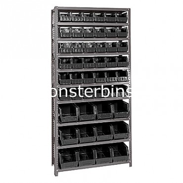 Steel Shelving Unit with 10 Shelves and 36 QUS230, 12 QUS240 Bins