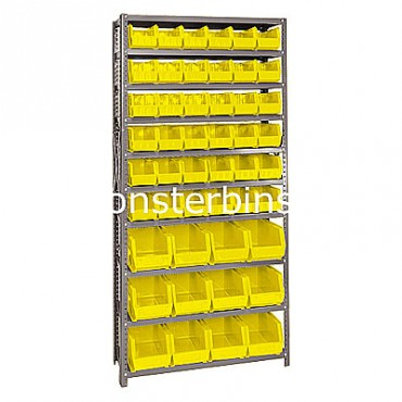 Steel Shelving Unit with 10 Shelves and 36 QUS230, 12 QUS240 Bins