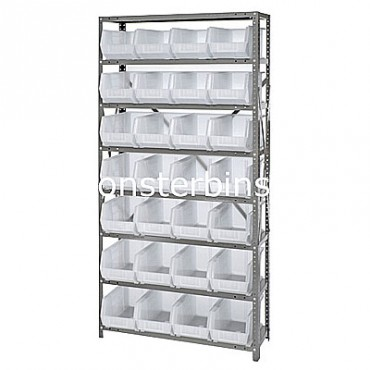 Steel Shelving Unit with 8 Shelves and 28 QUS239 Clear Bins