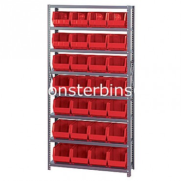 Steel Shelving Unit with 8 Shelves and 28 QUS240 Bins