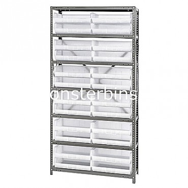 Steel Shelving Unit with 7 Shelves and 24 MB239 Clear Bins