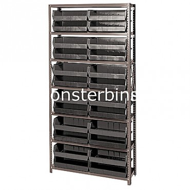 Steel Shelving Unit with 7 Shelves and 24 QUS245 Bins