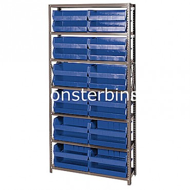 Steel Shelving Unit with 7 Shelves and 24 MB245 Bins