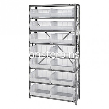 Steel Shelving Unit with 8 Shelves and 14 MB250 Clear Bins