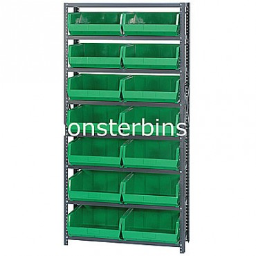 Steel Shelving Unit with 8 Shelves and 14 QUS250 Bins