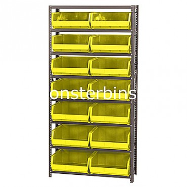 Steel Shelving Unit with 8 Shelves and 14 MB250 Bins