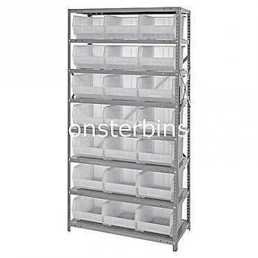 Steel Shelving Unit with 8 Shelves and 21 QUS255 Clear Bins