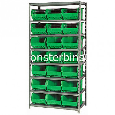 Steel Shelving Unit with 8 Shelves and 21 MB255 Bins