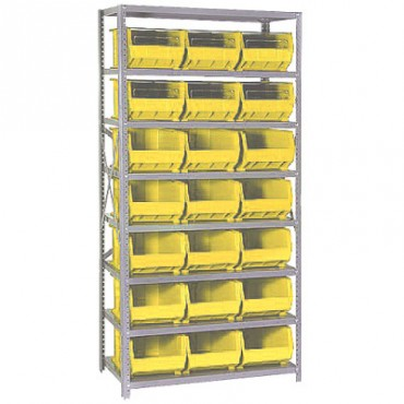 Steel Shelving Unit with 8 Shelves and 21 QUS255 Bins