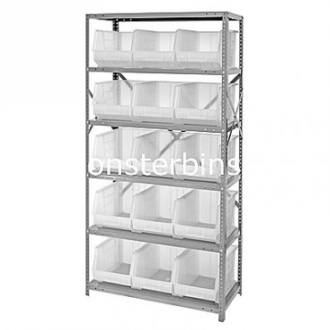 Steel Shelving Unit with 6 Shelves and 15 MB260 Clear Bins