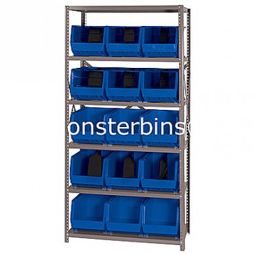 Steel Shelving Unit with 6 Shelves and 15 QUS260 Bins