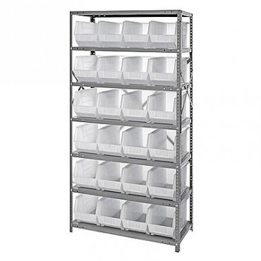 Steel Shelving Unit with 7 Shelves and 24 QUS265 Clear Bins