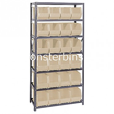 Steel Shelving Unit with 7 Shelves and 24 QUS265 Bins