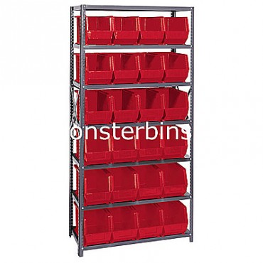 Steel Shelving Unit with 7 Shelves and 24 MB265 Bins