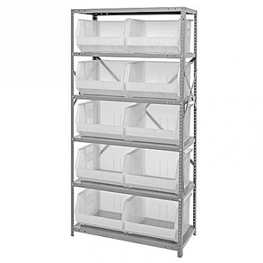 Steel Shelving Unit with 6 Shelves and 10 QUS270 Clear Bins