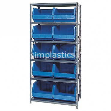 Steel Shelving Unit with 6 Shelves and 10 QUS270 Bins
