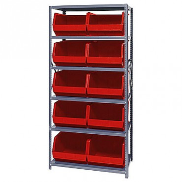 Steel Shelving Unit with 6 Shelves and 10 MB270 Bins
