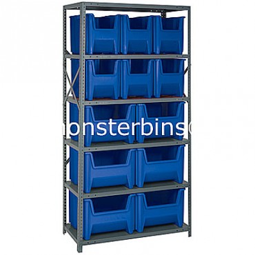 Steel Shelving Unit with 6 Shelves and 6 QGH600, 6 QGH800 Bins