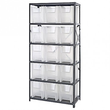 Steel Shelving Unit with 6 Shelves and 15 QGH600 Clear Bins