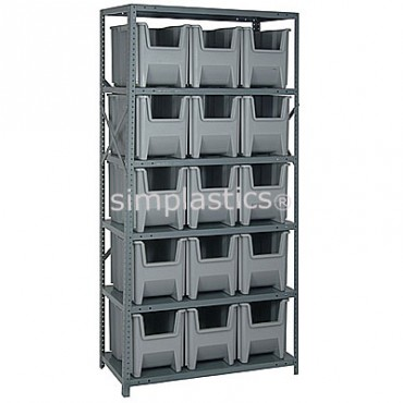 Steel Shelving Unit with 6 Shelves and 15 QGH600 Bins