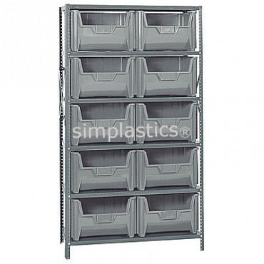 Steel Shelving Unit with 6 Shelves and 10 QGH700 Bins
