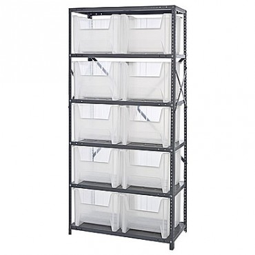 Steel Shelving Unit with 6 Shelves and 10 QGH800 Clear Bins