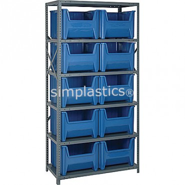 Steel Shelving Unit with 6 Shelves and 10 QGH800 Bins
