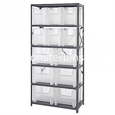 Steel Shelving Unit with 6 Shelves and 6 QGH600, 6 QGH800 Clear Bins