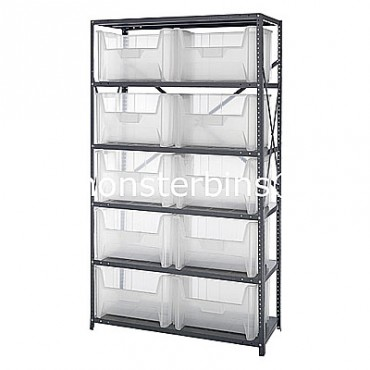 Steel Shelving Unit with 6 Shelves and 10 QGH700 Clear Bins