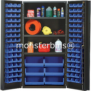 SSC-36 Cabinet with Shelves and Blue Plastic Bins