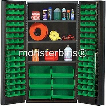 SSC-36 Cabinet with Shelves and Green Plastic Bins