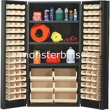 SSC-36 Cabinet with Shelves and Ivory Plastic Bins