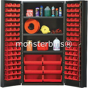 SSC-36 Cabinet with Shelves and Red Plastic Bins