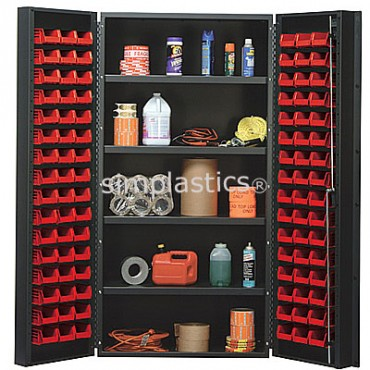 "36"" Cabinet with 4 Adjustable Shelves & 96 Stack Bins"