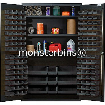 QSC-48 Cabinet with Shelves and Black Plastic Bins