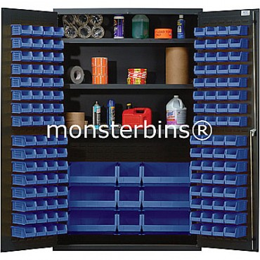 MSC-48 Cabinet with Shelves and Blue Plastic Bins