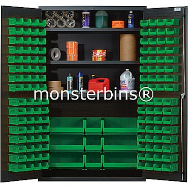SSC-48 Cabinet with Shelves and Green Plastic Bins