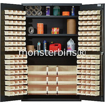 QSC-48 Cabinet with Shelves and Ivory Plastic Bins
