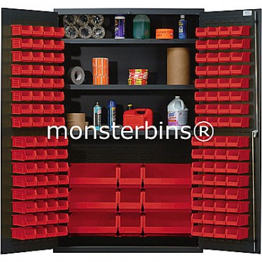 QSC-48 Cabinet with Shelves and Red Plastic Bins